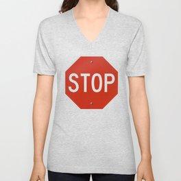 Red Traffic Stop Sign Unisex V-Neck