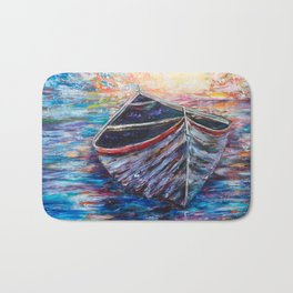 Wooden Boat at Sunrise - original oil painting with palette knife #society6 #decor #boat Bath Mat