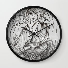 Monochromatic Mermaid Wall Clock