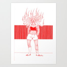 Candle Hair Red Art Print