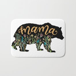 Mama Bear with Pretty Wildflowers Hand Lettering Illustration Bath Mat