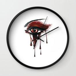 Red vampire eye makeup Wall Clock