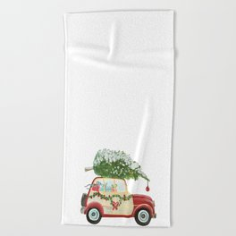 Vintage Christmas car with tree red Beach Towel