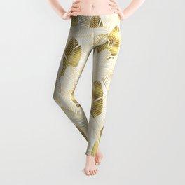 Gold tropical leaves pattern Leggings