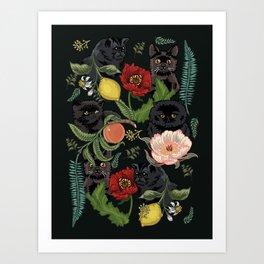 Botanical and Black Cats Art Print