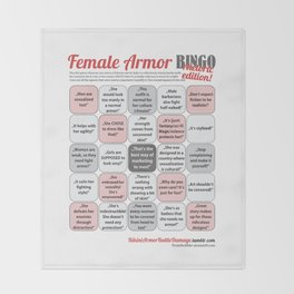 Female Armor Rhetoric Bingo Throw Blanket