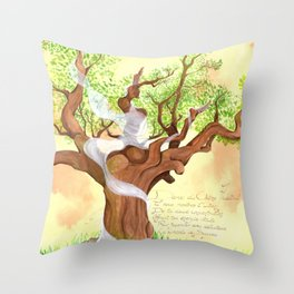 The concentrated Lady of the Oak Throw Pillow
