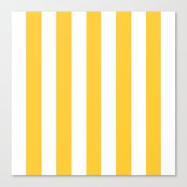 Sunglow yellow -  solid color - white vertical lines pattern Canvas Print