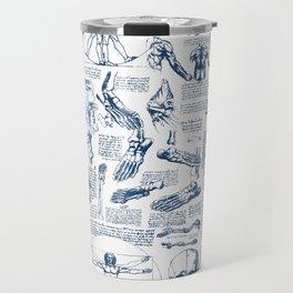 Da Vinci's Anatomy Sketchbook // Dark Blue Travel Mug