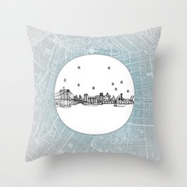 Brooklyn, New York City Skyline Illustration Drawing Throw Pillow