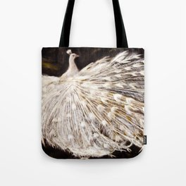 White Peacock Oil Painting Tote Bag
