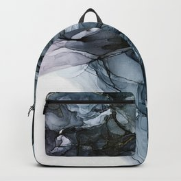 Dark Payne's Grey Flowing Abstract Painting Backpack