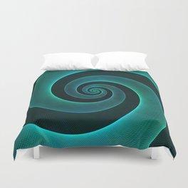 Magical Teal Green Spiral Design Duvet Cover