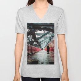 New York City Williamsburg Bridge in the Rain Unisex V-Neck