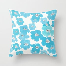 Camellia Flowers in Blue Pattern Throw Pillow