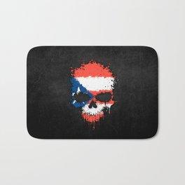 Flag of Puerto Rico on a Chaotic Splatter Skull Bath Mat