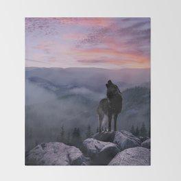 Lone Wolf at Sunset Ridge Throw Blanket