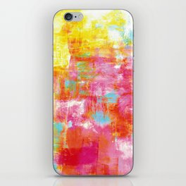 OFF THE GRID 2 Colorful Pink Pastel Neon Abstract Watercolor Acrylic Textural Art Painting Rainbow iPhone Skin