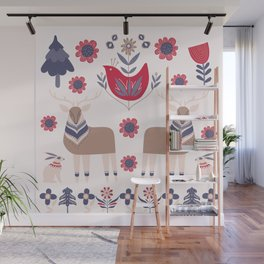 Scandinavian Winter Pattern Beige #society6 #buyart Wall Mural