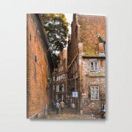 Medieval Streets-Lubeck, Germany Metal Print