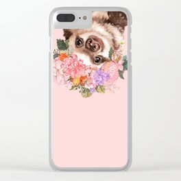 Baby Sloth with Flowers Crown in Pink Clear iPhone Case