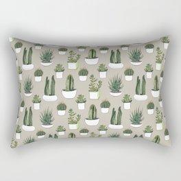 Watercolour cacti & succulents - Beige Rectangular Pillow
