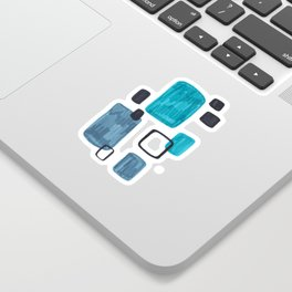 Mid Century Modern Abstract Minimalist Art Colorful Shapes Vintage Retro Style Turquoise Blue Grey Sticker