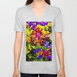 Viola Tricolor Pansy Flowers Unisex V-Neck