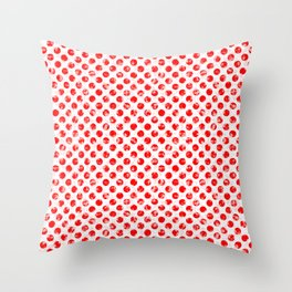 Polka Dot Red and Pink Blotchy Pattern Throw Pillow