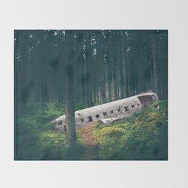 Surreal Iceland Plane Crash-Sólheimasandur Plane Crash in a Swedish Forest Throw Blanket