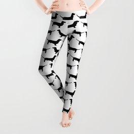 Dachshund Black and White Pattern Leggings