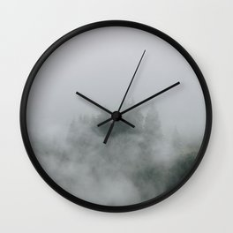 Mysterious moody foggy Forest - Landscape Photography Wall Clock