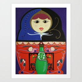 Matryoshka with Sparkling Water Art Print