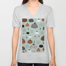 Inky Texture Pumpkins halloween illustration pattern design mint orange Unisex V-Neck