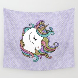 Violet Faux Glitter Unicorn Wall Tapestry