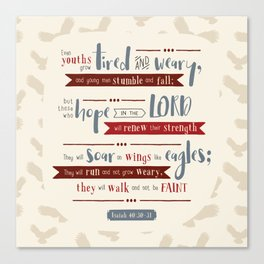 """""""Hope in the Lord"""" Hand-Lettered Bible Verse Canvas Print"""