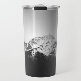 Black and white snowy mountain Travel Mug