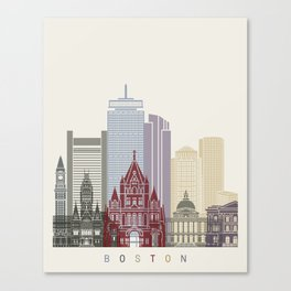 Boston skyline poster Canvas Print