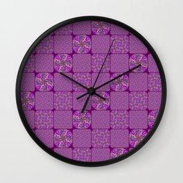 Bright Purple Rose Quilt Wall Clock