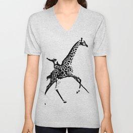 Giraffe Cowboy Unisex V-Neck