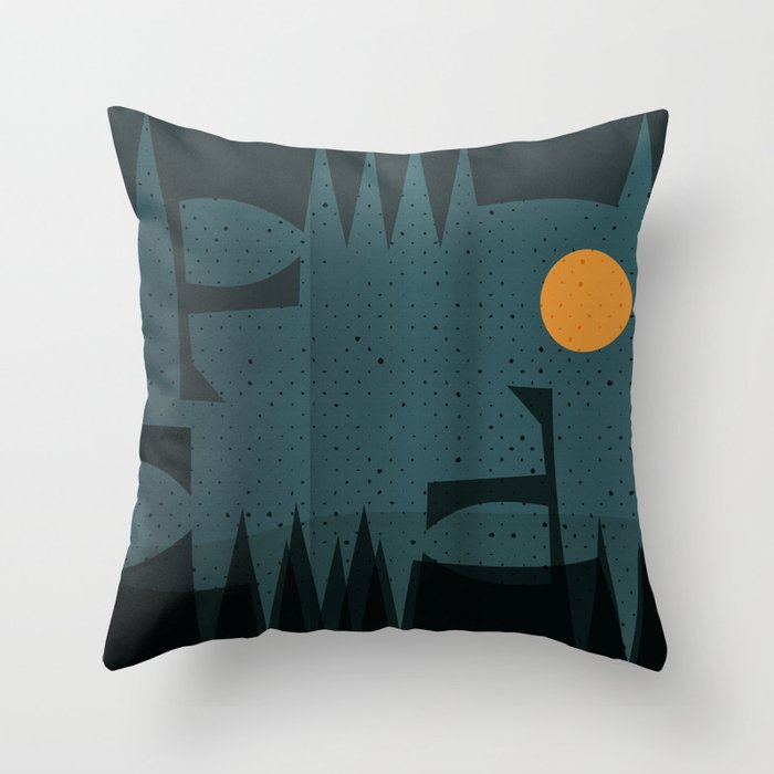 Night Abstract  Landscape Geometric Vector Art Throw Pillow