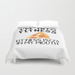 Funny Pizza Fitness Foodie Workout Gift Duvet Cover