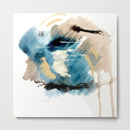 You are an Ocean - abstract India Ink & Acrylic in blue, gray, brown, black and white Metal Print