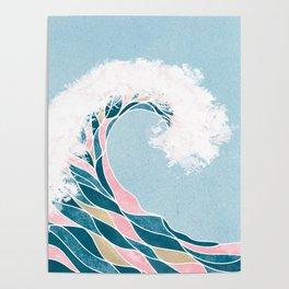 Surf X // Cali Beach Summer Surfing Rip Curl Gold Pink Aqua Abstract Ocean Wave Poster