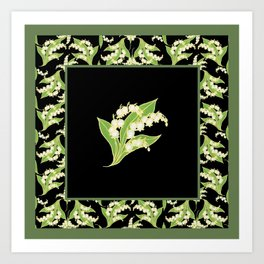 Vintage-style Lily-of-the-Valley Pattern Art Print