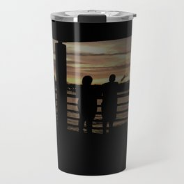 Human Silhouettes - Sunsets at The Fly series Travel Mug