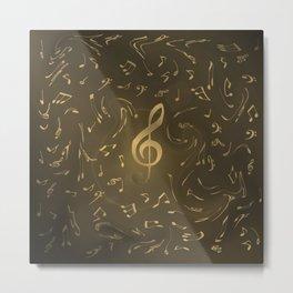 gold music notes swirl pattern Metal Print