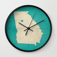 atlanta Wall Clocks featuring Atlanta, Georgia by Fercute