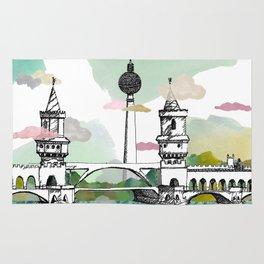 Oberbaum Brücke and TV Tower - Berlin - East/West boundary - East Side Gallery Rug