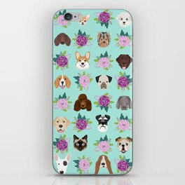 Dogs and cats pet friendly floral animal lover gifts dog breeds cat ladies iPhone Skin